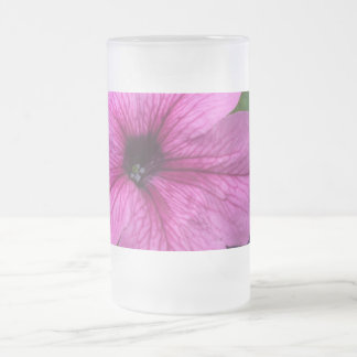Pink Flower Frosted Glass Beer Mug