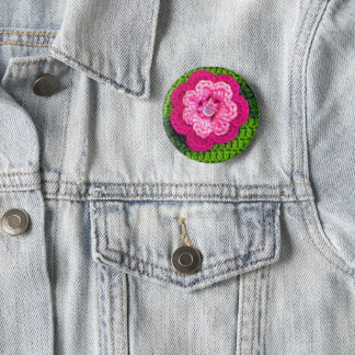 Pink Flower Green Crochet Print on Square Badge 2 Inch Round Button