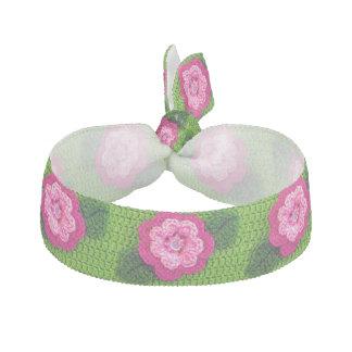 Pink Flower Green Crochet Print Stretch Bracelet / Hair Tie