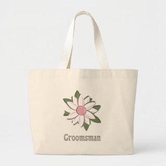 Pink Flower Groomsman Canvas Bags