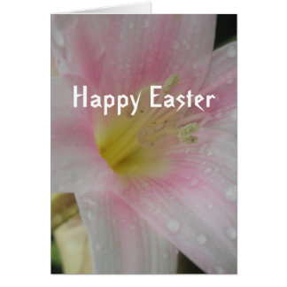 Pink Flower Happy Easter Greeting Card