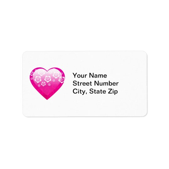 Pink Flower Heart Address Label