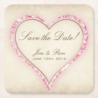 Pink Flower Heart Save the Date Square Paper Coaster