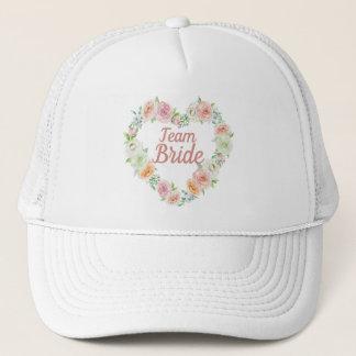 Pink Flower Heart Wreath Team Bride Trucker Hat