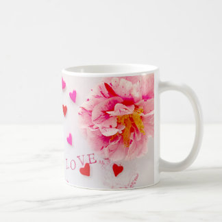Pink flower, hearts and love coffee mug
