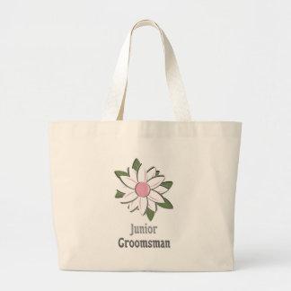 Pink Flower Jr Groomsman Tote Bags