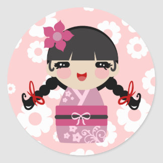 Pink Flower Kokeshi Classic Round Sticker