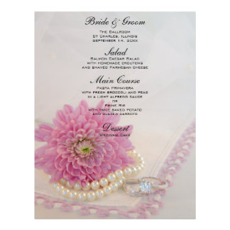 Pink Flower, Lace and Rings Wedding Menu