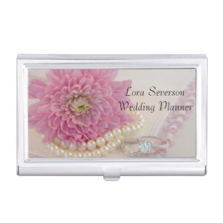 Pink Flower, Lace and Rings Wedding Planner Business Card Holder