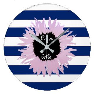 Pink Flower Large Clock