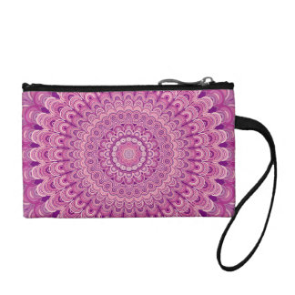 Pink flower mandala coin purse