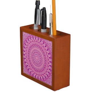Pink flower mandala desk organizer