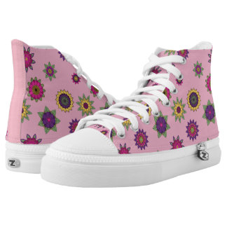 Pink Flower Mandala Hi-Top Sneakers