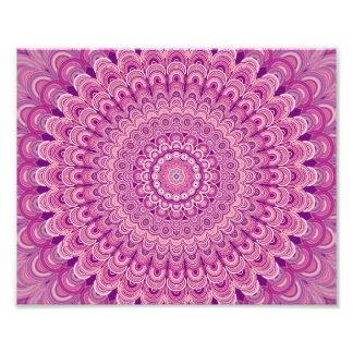 Pink flower mandala photo print