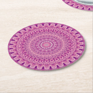 Pink flower mandala round paper coaster
