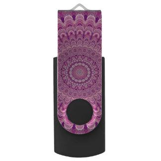 Pink flower mandala swivel USB 3.0 flash drive