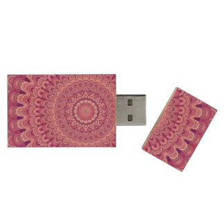 Pink flower mandala wood USB 3.0 flash drive