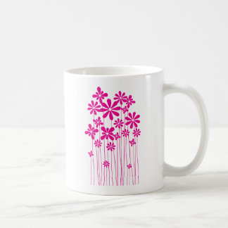 Pink Flower Meadow Basic White Mug