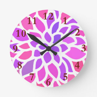 Pink Flower Modern Colorful Round Clock