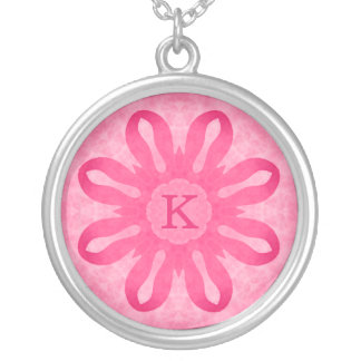 Pink flower monogram silver plated necklace