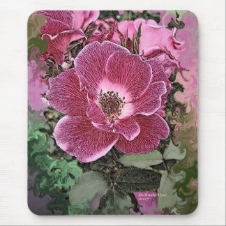 Pink Flower Mouse pad painted by Artful Oasis
