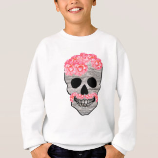 Pink Flower Mustache Hipster Day of the Dead Skull Sweatshirt