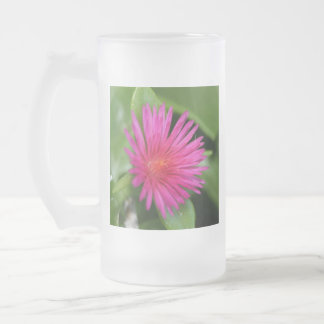 Pink Flower of Succulent Carpet Weed Frosted Glass Beer Mug