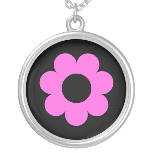Pink flower on black background personalized necklace