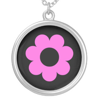 Pink flower on black background round pendant necklace