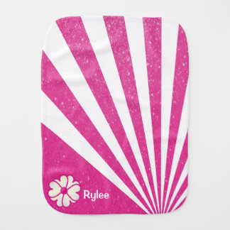 Pink Flower on Glitter Abstract Background Baby Burp Cloths