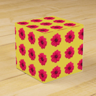 pink flower on yellow box