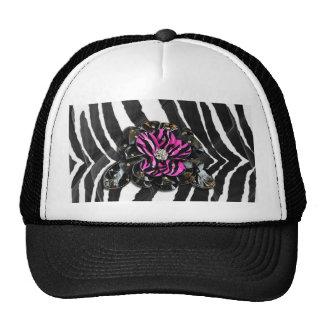 Pink Flower on Zebra Hats