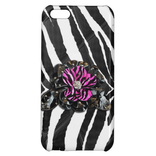 Pink Flower on Zebra iPhone 5C Covers