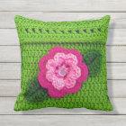 Pink Flower Outdoors Light Grass Green Crochet Throw Pillow