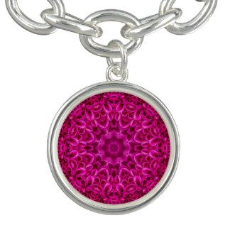 Pink   Flower Pattern  Charm Bracelet