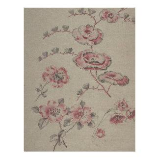 Pink Flower Pattern - French Letterhead