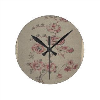 Pink Flower Pattern - French Round Clock