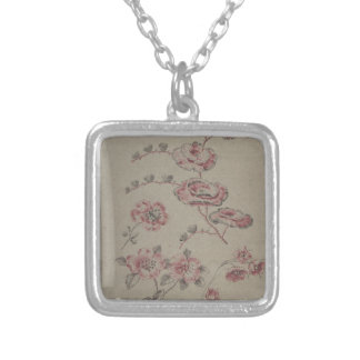 Pink Flower Pattern - French Silver Plated Necklace