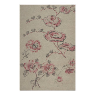 Pink Flower Pattern - French Stationery