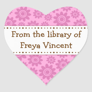 Pink flower pattern heart shaped bookplate labels