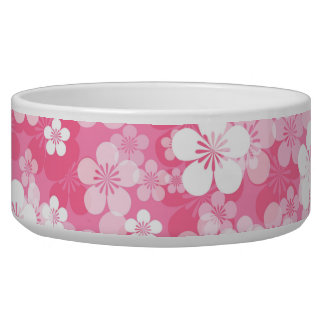 Pink Flower Pattern Large Pet Bowl