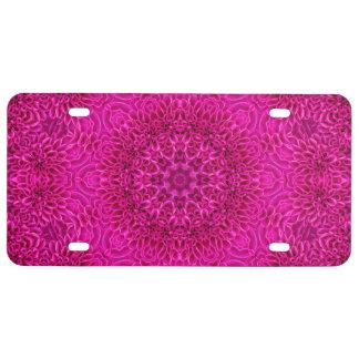 Pink Flower Pattern License Plates