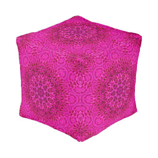 Pink Flower Pattern   Pouf Cube, 2 sizes