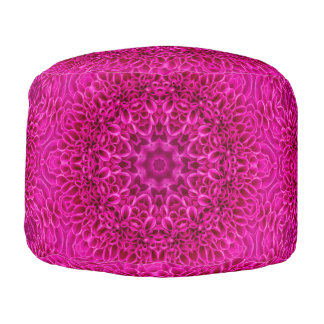 Pink Flower Pattern  Round Poufs