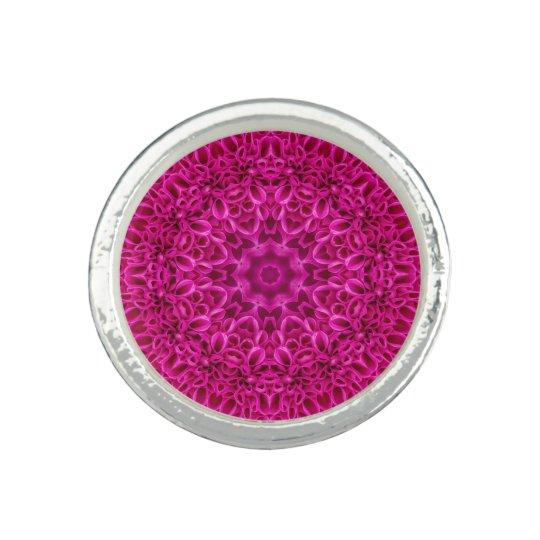 Pink Flower Pattern  Round Ring