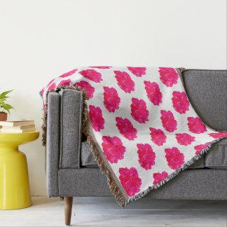Pink Flower Pattern Throw Blanket