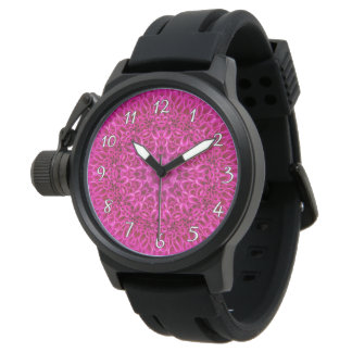 Pink Flower Pattern   Vintage Mens Watch