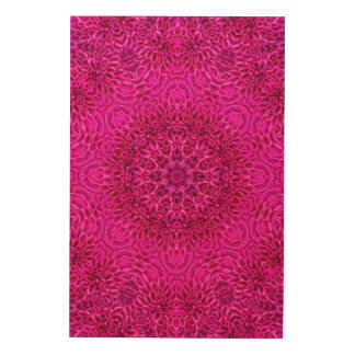 Pink Flower Pattern Wood Wall Art