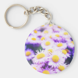 Pink flower pattert keychain