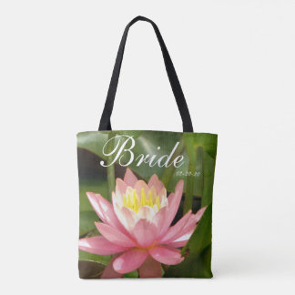 Pink flower personalized w/ Name Bride & date Tote Bag